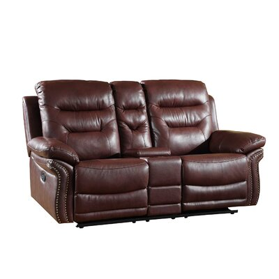 Ullery Upholstered Living Room Reclining Loveseat Upholstery: Burgundy