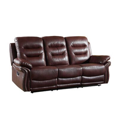 Ullery Upholstered Living Room Reclining Sofa Upholstery: Burgundy