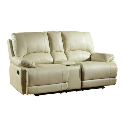 Ullery Upholstered Living Room Recliner Console Reclining Loveseat Upholstery: Beige