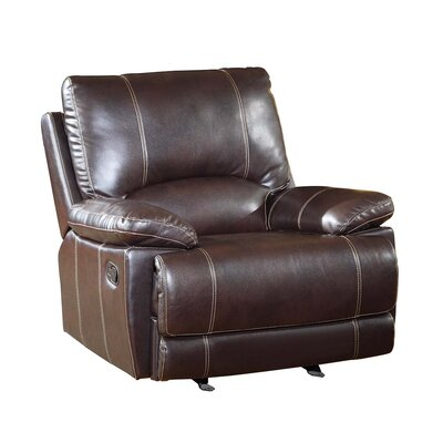 Ullery Upholstered Living Room Manual Recliner Upholstery: Brown