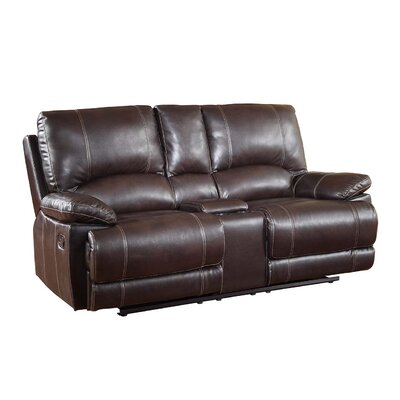 Ullery Upholstered Living Room Recliner Console Reclining Loveseat Upholstery: Brown