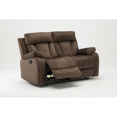 Ullery Upholstered Living Room Reclining Loveseat Upholstery: Brown