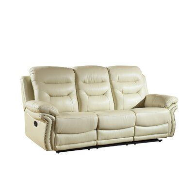 Ullery Upholstered Living Room Reclining Sofa Upholstery: Beige