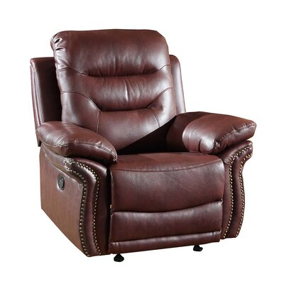 Trower Upholstered Living Room Manual Recliner Upholstery: Burgandy