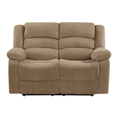 Updegraff Microfiber Fabric Upholstered Living Room Recliner Reclining Loveseat Upholstery: Beige