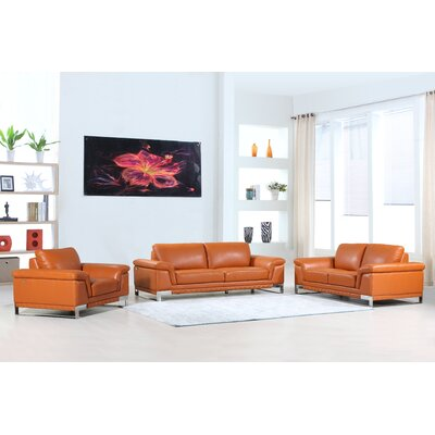 Hawkesbury Common Luxury Italian Upholstered Complete Leather 3 Piece Living Room Set Upholstery: Tan