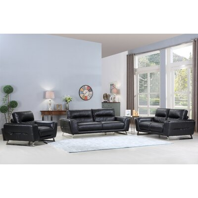 Hawkesbury Common Luxury Upholstered Italian Leather 3 Piece Living Room Set Upholstery: Black