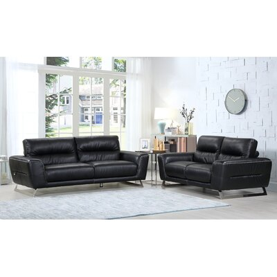 Hawkesbury Common Luxury Upholstered Italian Leather 2 Piece Living Room Set Upholstery: Black