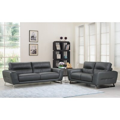 Hawkesbury Common Luxury Upholstered Italian Leather 2 Piece Living Room Set Upholstery: Dark Gray
