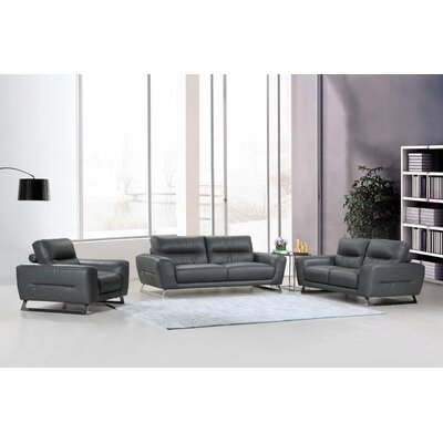 Hawkesbury Common Luxury Upholstered Italian Leather 3 Piece Living Room Set Upholstery: Dark Gray