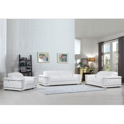 Hawkesbury Common Luxury Italian Upholstered Complete Leather 3 Piece Living Room Set Upholstery: White