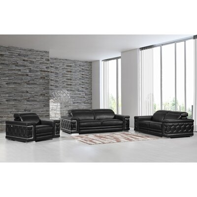 Hawkesbury Common Luxury Italian Upholstered Complete Leather 3 Piece Living Room Set Upholstery: Black
