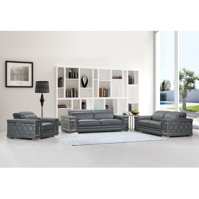 Hawkesbury Common Luxury Italian Upholstered Complete Leather 3 Piece Living Room Set Upholstery: Gray