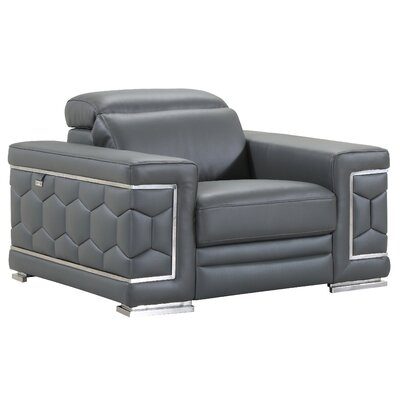 Hawkesbury Common Luxury Italian Leather Upholstered Living Room Club Chair Upholstery: Dark Gray