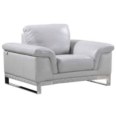 Hawkesbury Common Luxury Italian Leather Upholstered Living Room Club Chair Upholstery: Light Gray