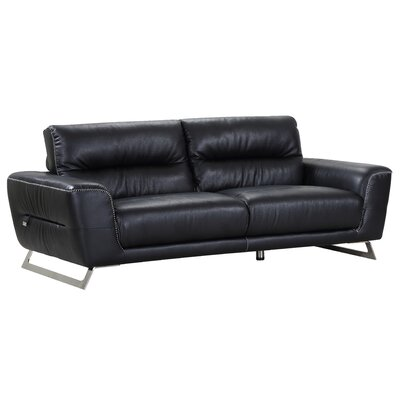 Hawkesbury Common Luxury Italian Upholstered Living Room Leather Sofa Upholstery: Black