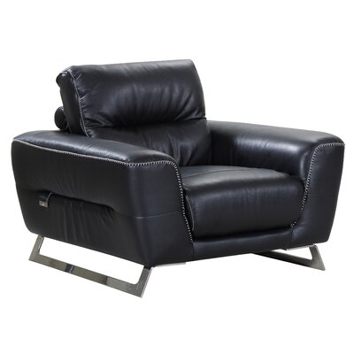 Hawkesbury Common Luxury Italian Leather Upholstered Living Room Club Chair Upholstery: Black