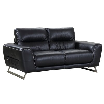 Hawkesbury Common Luxury Italian Upholstered Living Room Leather Loveseat Upholstery: Black