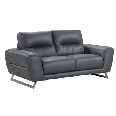 Hawkesbury Common Luxury Italian Upholstered Living Room Leather Loveseat Upholstery: Gray