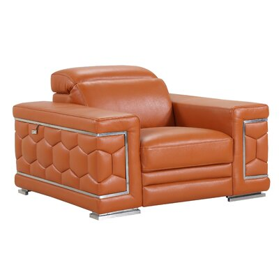 Hawkesbury Common Luxury Italian Leather Upholstered Living Room Club Chair Upholstery: Camel
