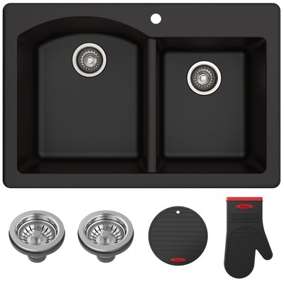 Forteza� 33 x 22 Double Basin Drop-In Kitchen Sink Finish: Black