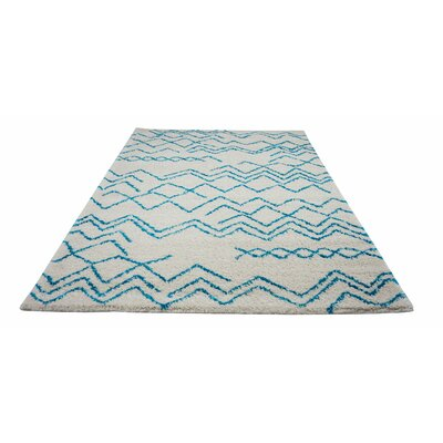 Cedar Shaggy Ivory/Turquoise Area Rug Rug Size: Rectangle 710 x 107