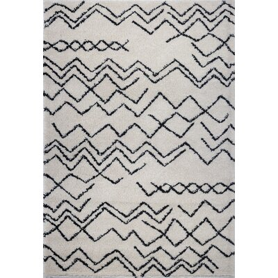 Cedar Shaggy Ivory/Black Area Rug Rug Size: Rectangle 52 x 75
