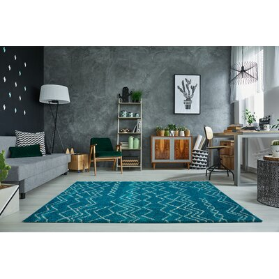 Cedar Shaggy Turquoise/Ivory Area Rug Rug Size: Rectangle 65 x 95