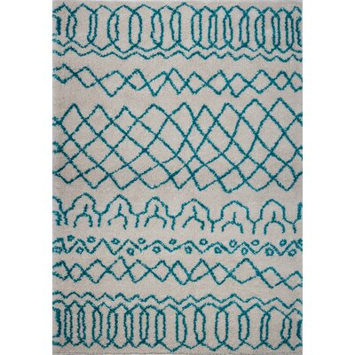 Chesnut Shaggy Ivory/Turquoise Area Rug Rug Size: Rectangle 52 x 75