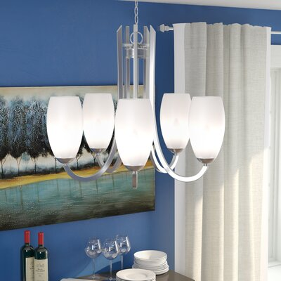 Caves 5-Light Shaded Chandelier Finish: Satin Nickel