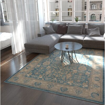 Basswood Light Blue Area Rug Rug Size: Round 73