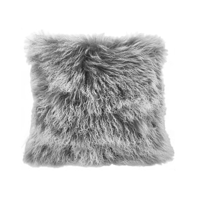Kimberlin Tibetan Snow Top Wool Throw Pillow Color: Gray, Size: 24 x 24