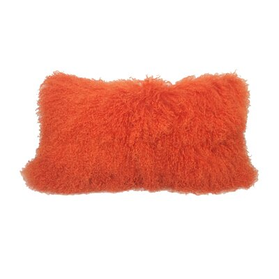 Kimbell Tibetan Snowtop Wool Throw Pillow Color: Bright Orange
