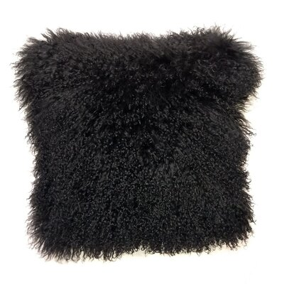 Kimberlin Tibetan Snow Top Wool Throw Pillow Color: Black, Size: 24 x 24