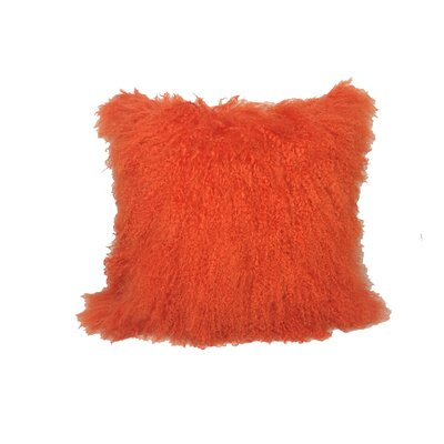 Kimberlin Tibetan Snow Top Wool Throw Pillow Color: Bright Orange, Size: 24 x 24