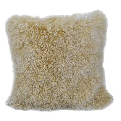 Kimberlin Tibetan Snow Top Wool Throw Pillow Color: Champagne, Size: 24 x 24