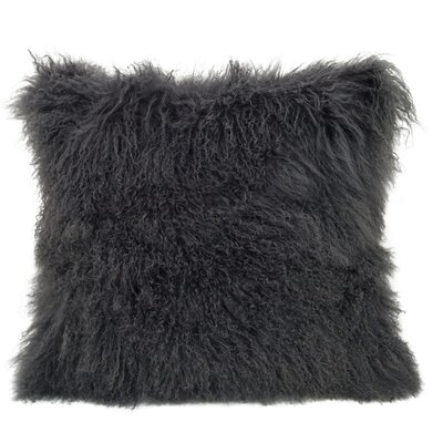 Kimberlin Tibetan Snow Top Wool Throw Pillow Color: Charcoal, Size: 24 x 24