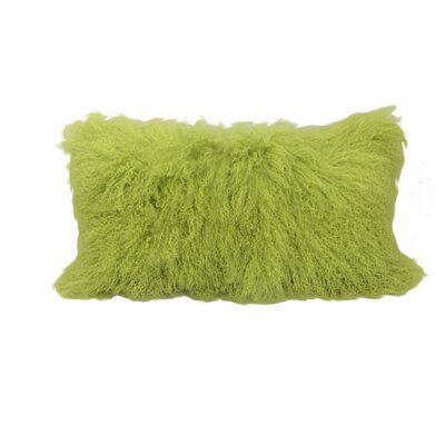Kimbell Tibetan Snowtop Wool Throw Pillow Color: Lime