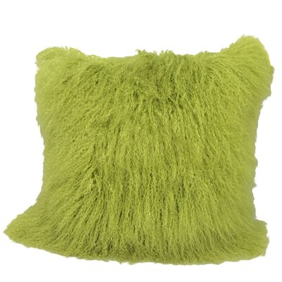 Kimberlin Tibetan Snow Top Wool Throw Pillow Color: Lime, Size: 24 x 24