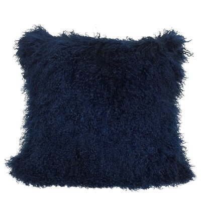 Kimberlin Tibetan Snow Top Wool Throw Pillow Color: Navy, Size: 24 x 24