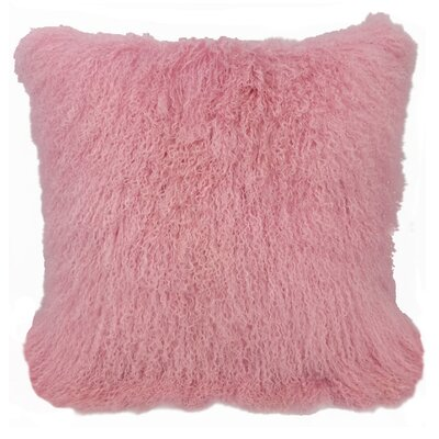 Kimberlin Tibetan Snow Top Wool Throw Pillow Color: Pink, Size: 24 x 24