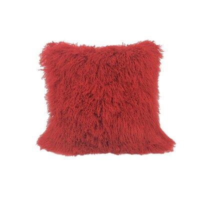 Kimberlin Tibetan Snow Top Wool Throw Pillow Color: Red, Size: 24 x 24