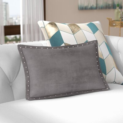 Ronning Stud Trim Lumbar Pillow Color: Gray