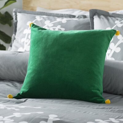 Chinery Throw Pillow Size: 22 H x 22 W x 4 D, Color: Green, Filler: Polyester