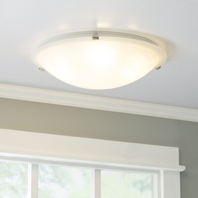 Barrett 2-Light Flush Mount Finish / Shade Finish: Marble/Satin Nickel, Size: 6 H x 20 W