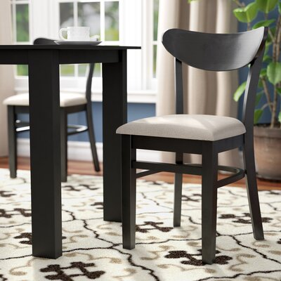 Fayette Oval Back Solid Wood Dining Chair Frame Color: Black