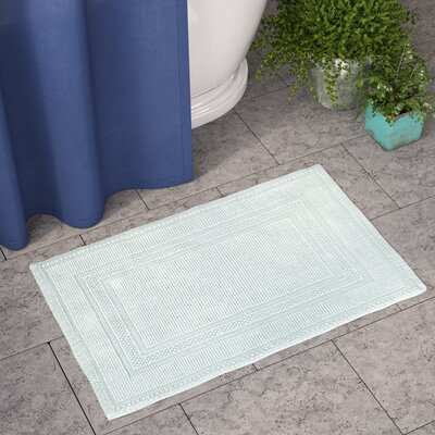 Berrian Cotton Stonewash Racetrack Bath Rug Color: Aqua, Size: 21 W x 34 L