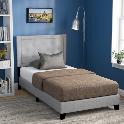 Crader Twin Upholstered Panel Bed Color: Gray