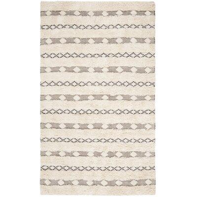 Celia Hand-Woven Wool Ivory/Gray Area Rug Rug Size: Rectangle 4 x 6