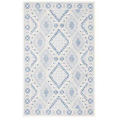 Cedarwood Hand-Tufted Wool Light Gray/Blue Area Rug Rug Size: Runner 23 x 7